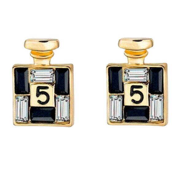 Black Gold Perfume Bottle Crystal No 5 Chic Fashion Stud Earrings