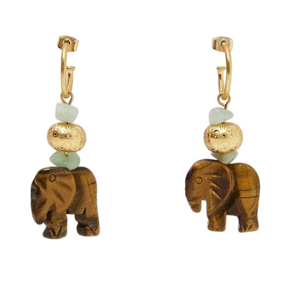 Gold Green Wooden Elephant Boho African Animal Dangle Fashion Earrings