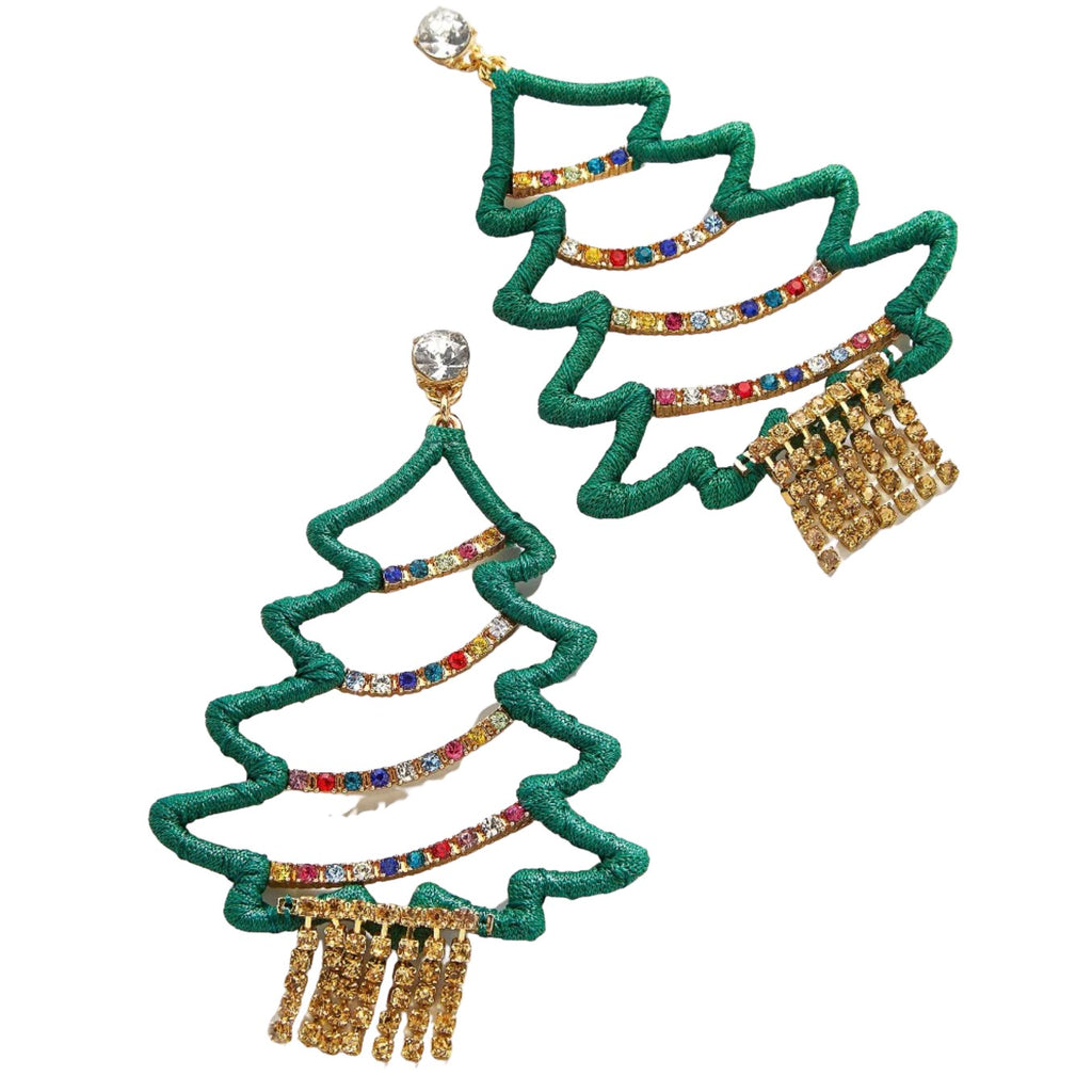 Green Multi-Color Festive Christmas Tree Holiday Earrings
