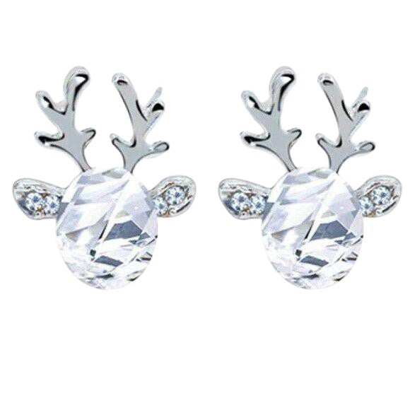 Yellow Gold Clear Crystal Christmas Reindeer Stud Earrings