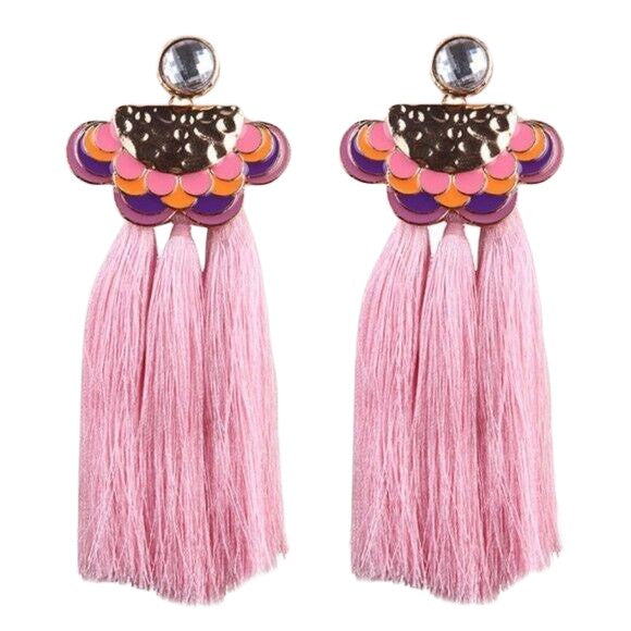Orange & Purple Enamel Drop Boho Pink Tassel Crystal Earrings