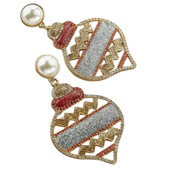 Red Gold Pearl Glitter Christmas Tree Ornament Festive Earrings