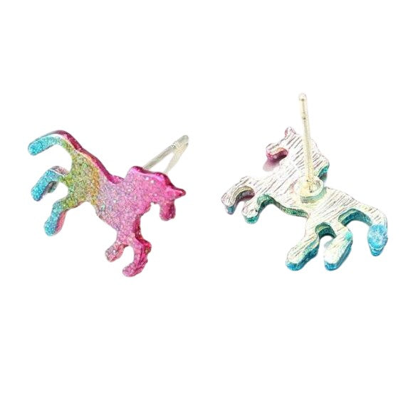 Multi-Color Glitter Magic Unicorn Small Stud Earrings