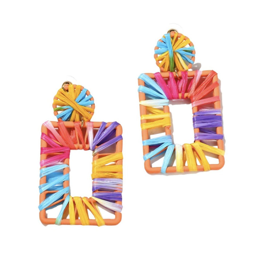 Rattan Rectangular Rainbow Multi-Color Drop Earrings