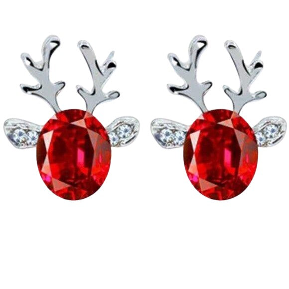 Silver Red Crystal Christmas Reindeer Stud Earrings
