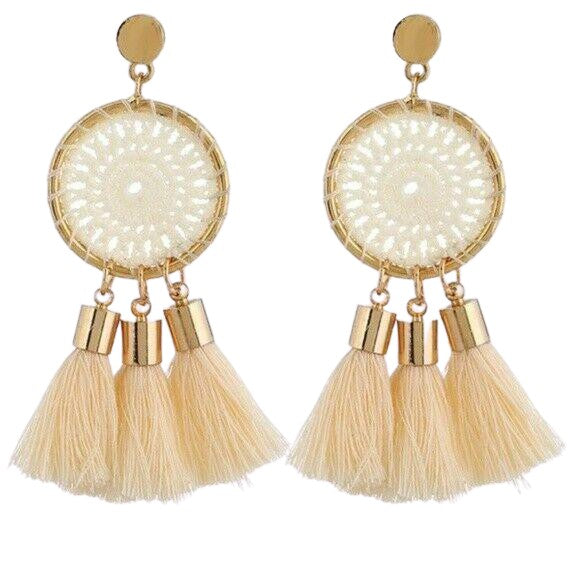 Boho Dream Catcher Beige Tassel Drop Earrings
