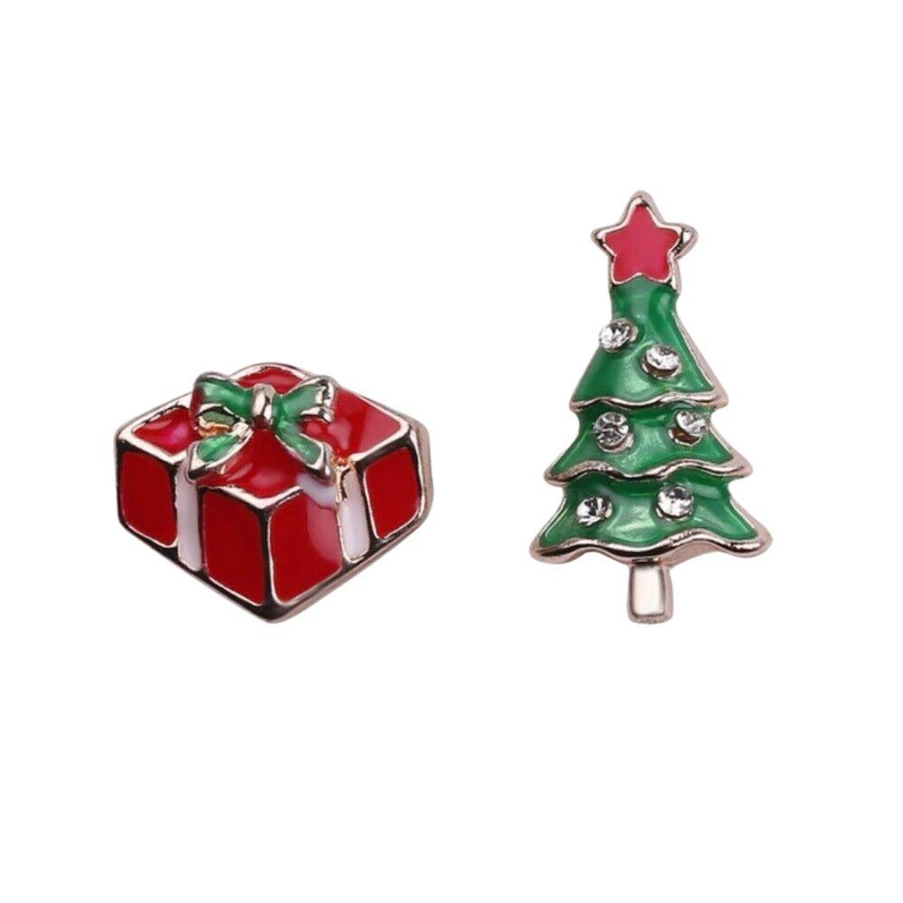 Green Red Gift Christmas Tree Winter Small Stud Earrings