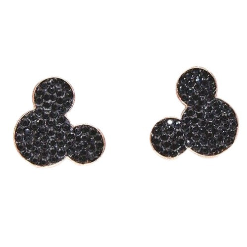 Black Rose Gold Mickey Mouse Stud Earrings