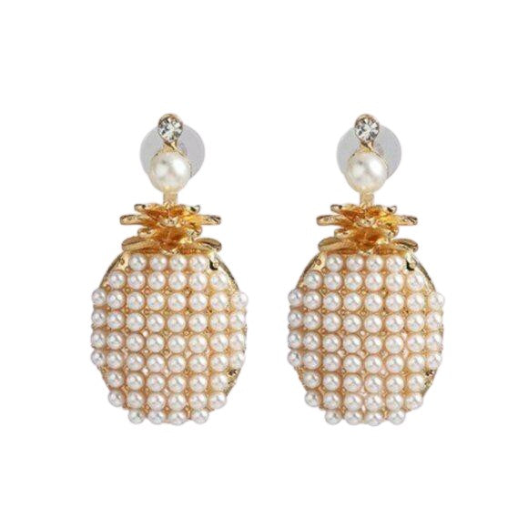 Yellow Gold Pearl Pineapple Fruit Fun Summer Large Stud Women's Earrings