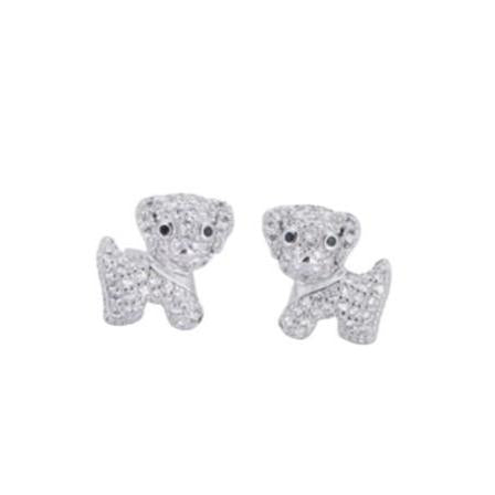 Sterling Silver Pave Cubic Zirconia Puppy Stud Earrings