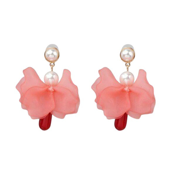 Red Flower Petal & Dangle Pearl Earrings
