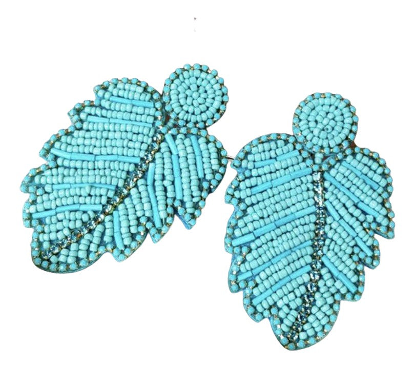 Large Turquoise Beaded Crystal Leaf Boho Chic Earrings