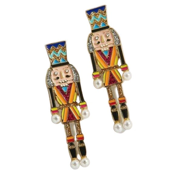 The Nutcracker Multi-Color Enamel & Pearl Drop Festive Earrings