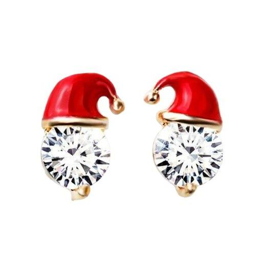 Red Santa Hat Round Cubic Zirconia Christmas Stud Earrings