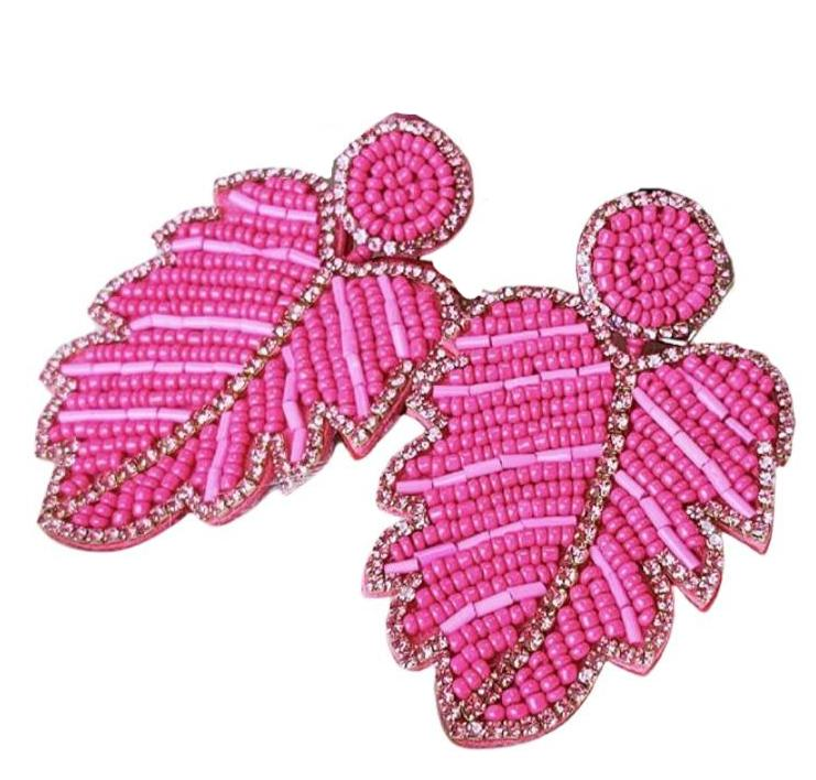 Large Hot Pink Beaded Crystal Leaf Boho Chic Earrings