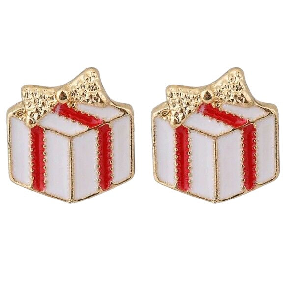Gold Red Christmas Present Gift Cute Stud Earrings