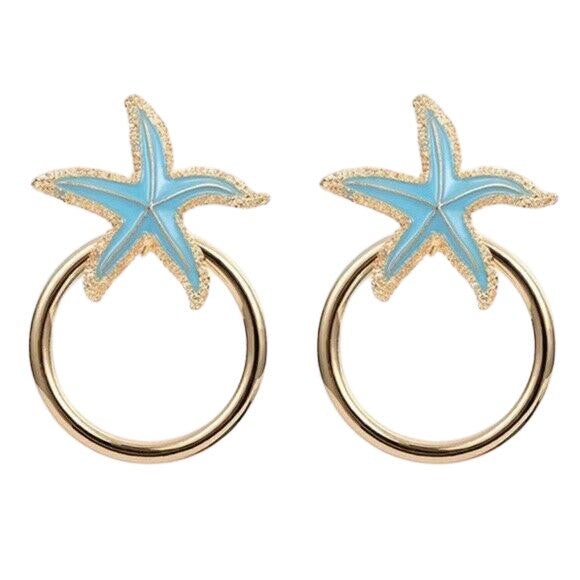 Blue Starfish Hoop Drop Statement Earrings
