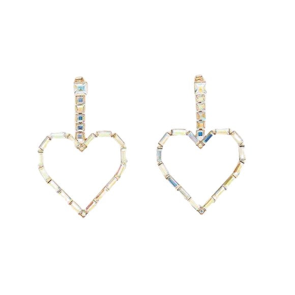 Large Rhinestone Iridescent Heart Drop Women's Statement Earrings
