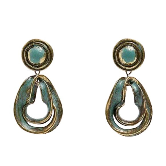 Vintage Blue Round Swirl Boho Drop Earrings