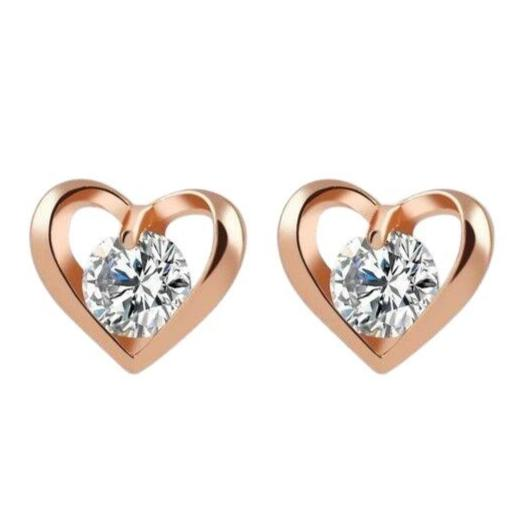 Rose Gold Heart Shaped Round 0.50ct Cubic Zirconia Stud Earrings