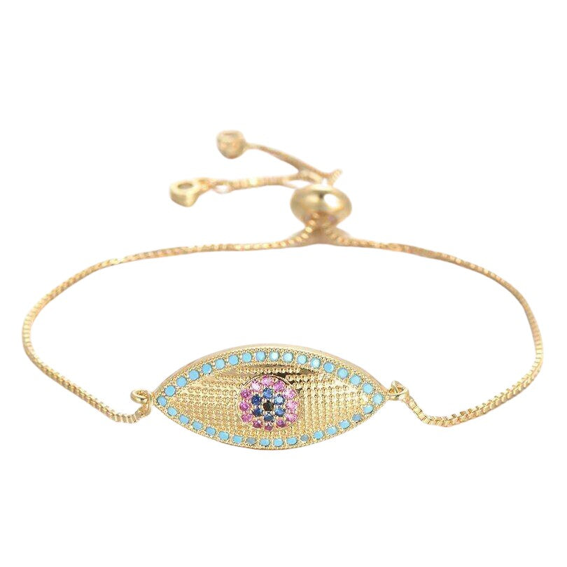 Large Yellow Gold Blue Evil Eye Boho Cubic Zirconia Women's Adjustable Bracelet