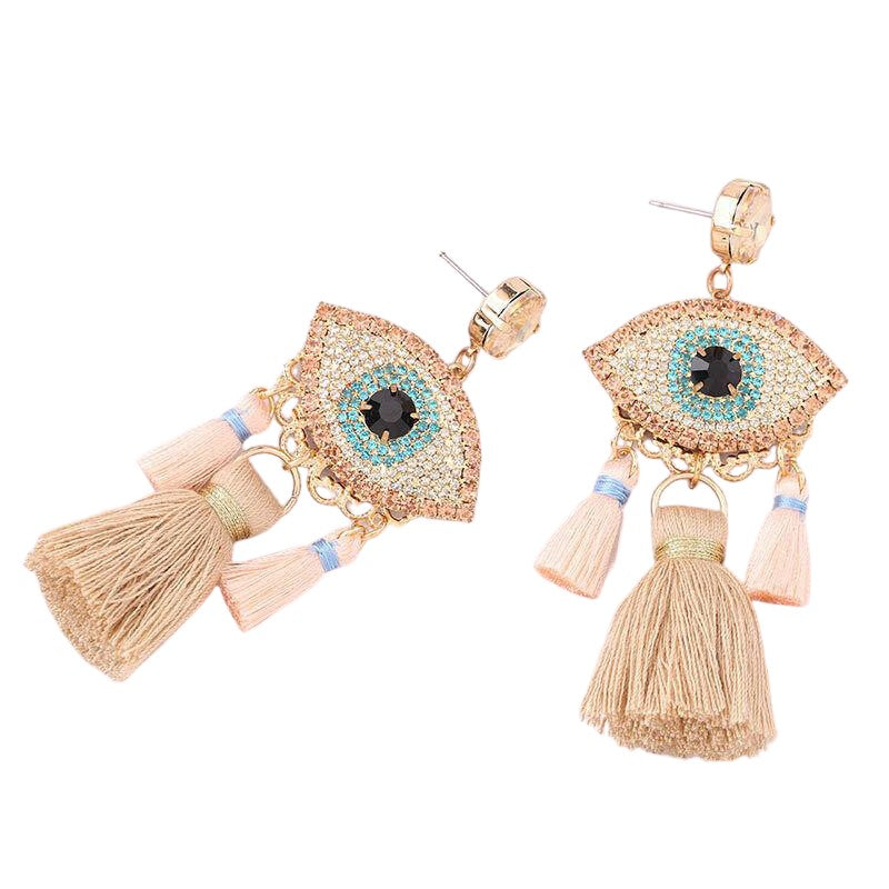 Large Pink Gold Evil Eye Hamsa Tassel Crystal Dangle Boho Earrings