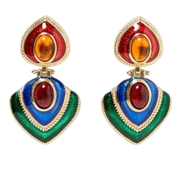 Red Blue Green Rhinestone Moscow Baroque Style Drop Earrings