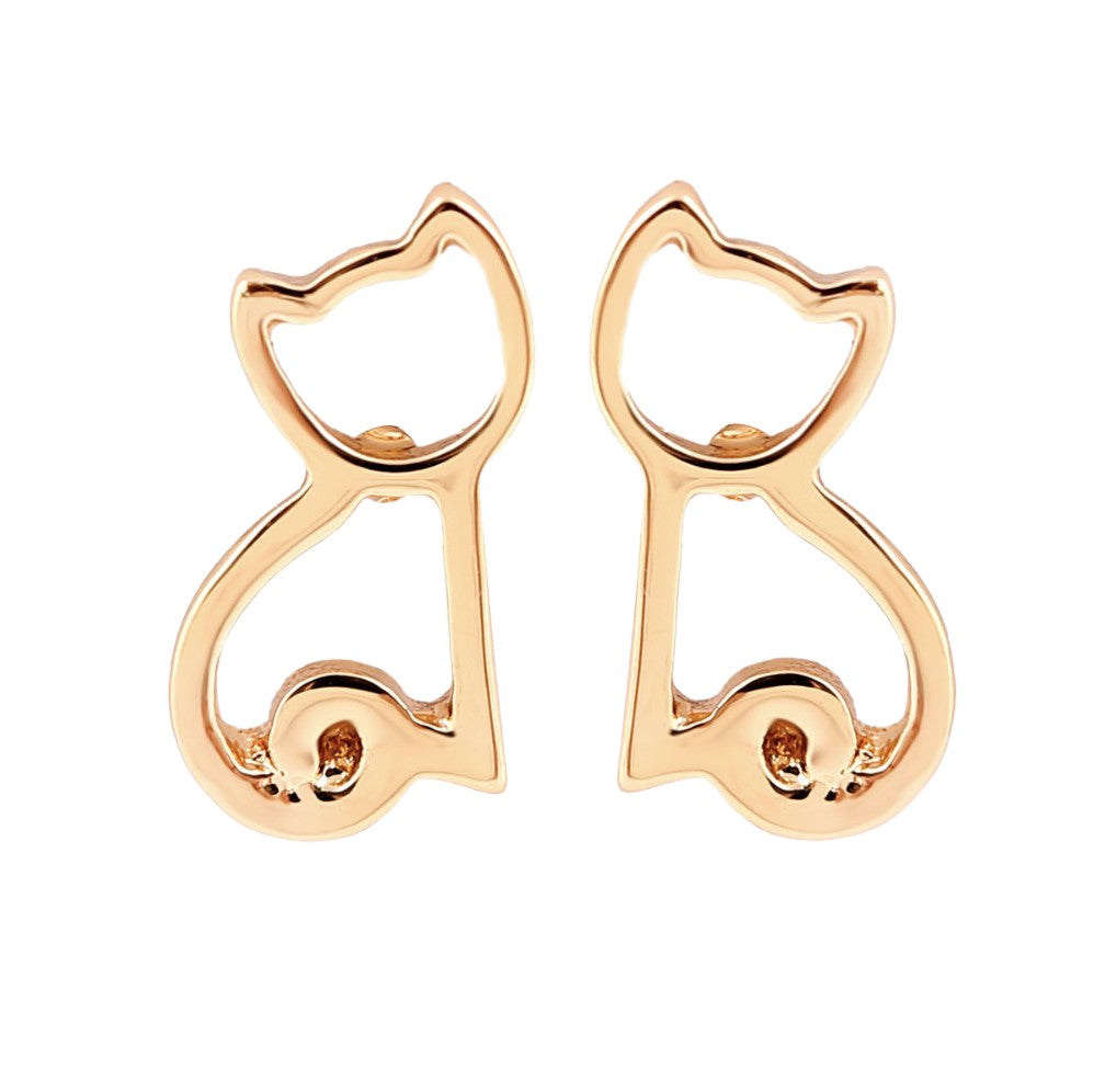Yellow Gold Dainty Cat Silhouette Small Stud Earrings
