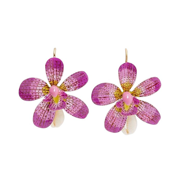 Hibiscus Flower & Seashell Hawaiian Gold Drop Earrings