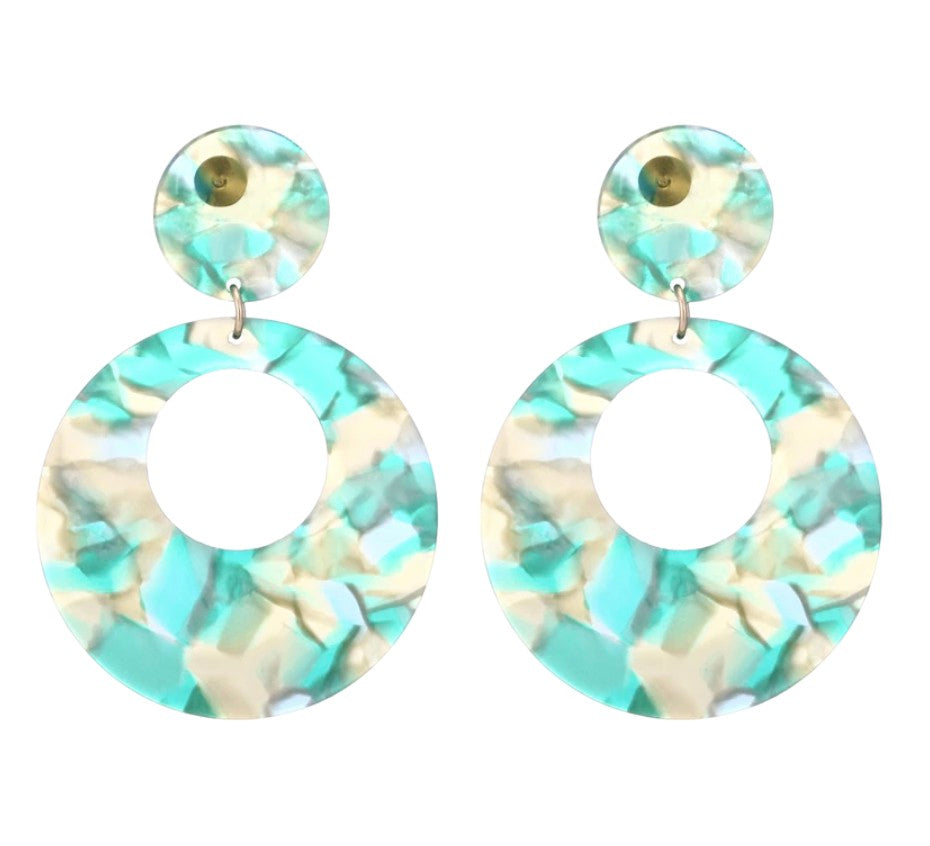 Light Green Acrylic Round Retro Drop Earrings