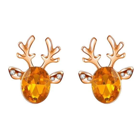 Yellow Gold Orange Crystal Christmas Reindeer Stud Earrings