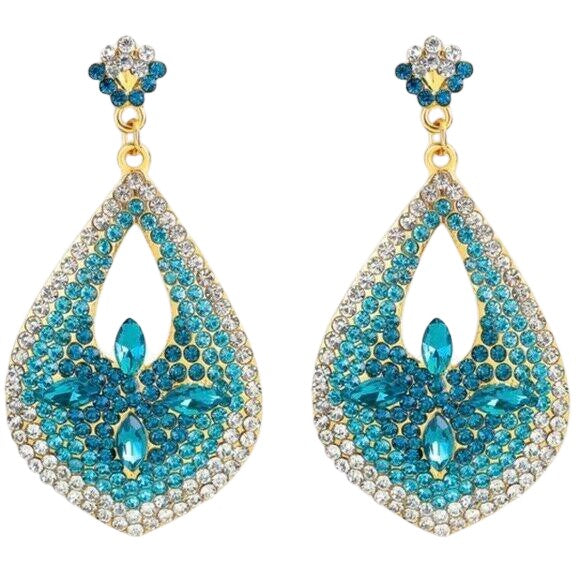 Turquoise Riviera Pear Shaped Drop Rhinestone Earrings