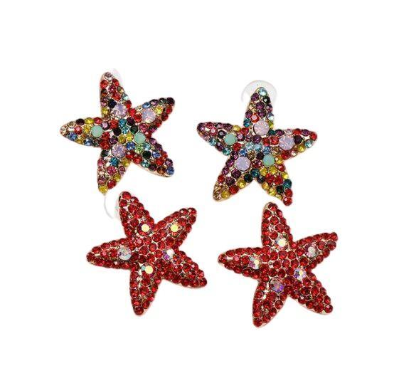 Gold Red Rhinestone Large Starfish Star Earrings