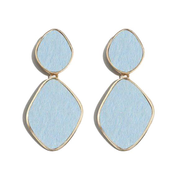 Blue Gold Fluffy Retro Drop Chic Earrings