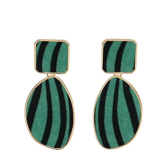 Green & Black Zebra Print Retro Style Drop Earrings