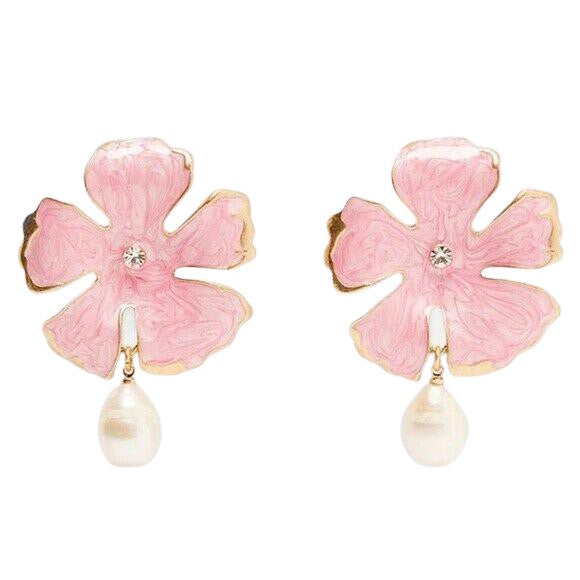 Pink Hibiscus Pearl Flower Drop Earrings