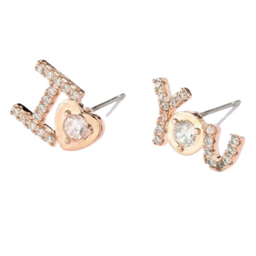 """I Heart You"" Cubic Zirconia Rose Gold Stud Earrings"