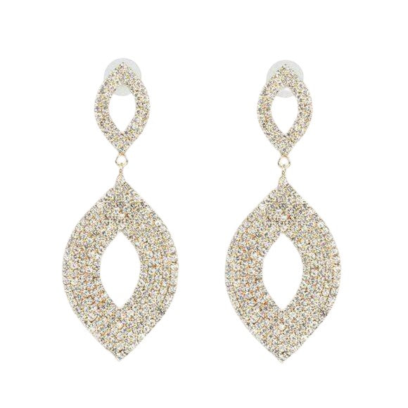 Marquise Shaped Long Sparking Yellow Gold Crystal Earrings