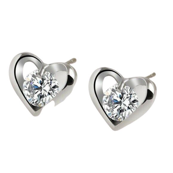 Silver Heart Shaped Round 0.50ct Cubic Zirconia Stud Earrings