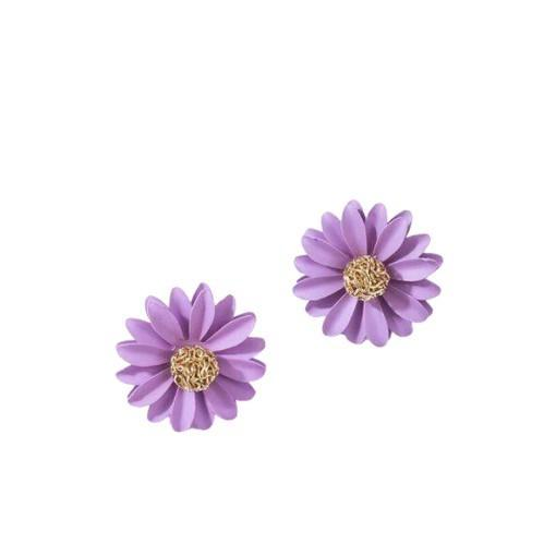 Purple Gold Large Daisy Flower Stud Earrings