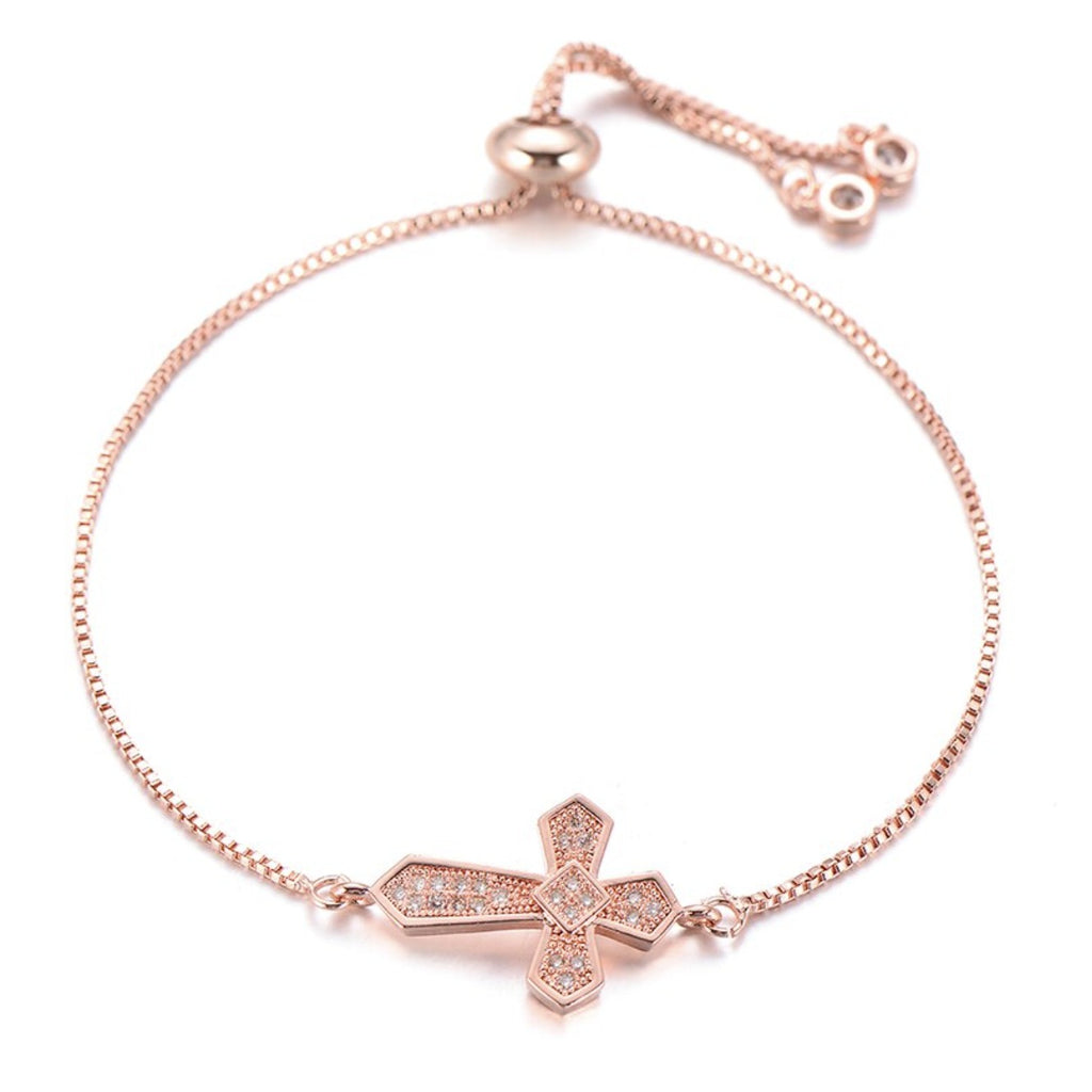 Dainty Cross Charm Rose Gold Cubic Zirconia Adjustable Religious Bracelet