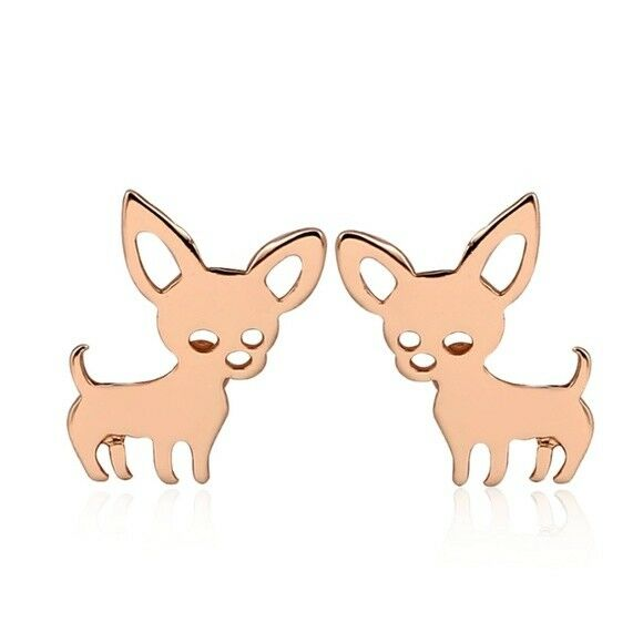 Rose Gold Tone Chihuahua Dog Pet Small Women's Stud Earrings Animal Lover