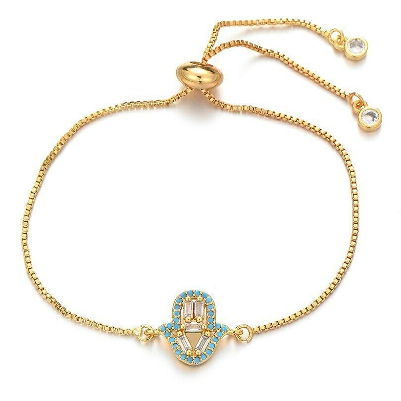 Small Gold Blue Hamsa Hand Boho Cubic Zirconia Women's Adjustable Bracelet