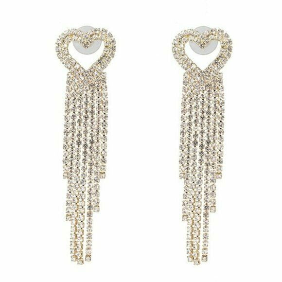 Yellow Gold Crystal Heart Shaped Long Party Sparking Women's Earrings Elegant