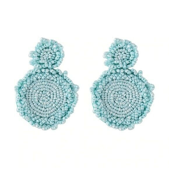 Light Blue Beaded Round Drop Flower Statement Women's Earrings Fashion