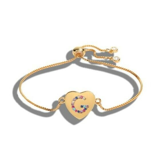 "Gold Multi-color Cubic Zirconia Letter ""G"" Initial Name Heart Bracelet Love"