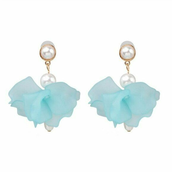 Light Blue Pearl Flower Large Statement Dangle Women's Earrings Fashion Nature