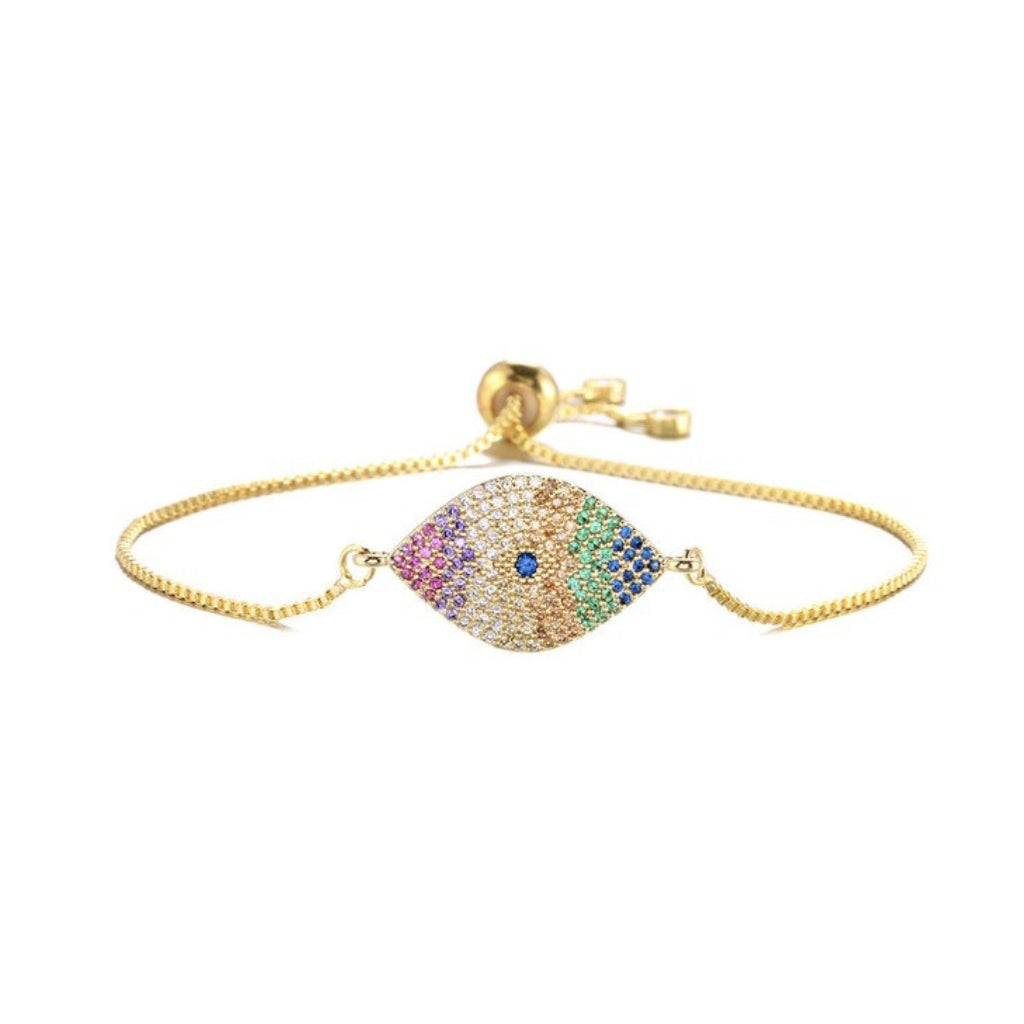 Gold Rainbow Cubic Zirconia Evil Eye Boho Symbol Women Adjustable Bracelet