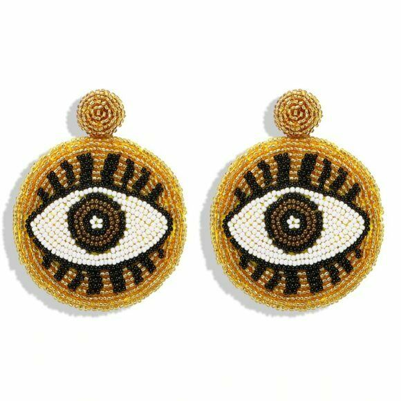 Yellow Brown Evil Eye Protection Symbol Boho Large Round Beaded Women's Earrings