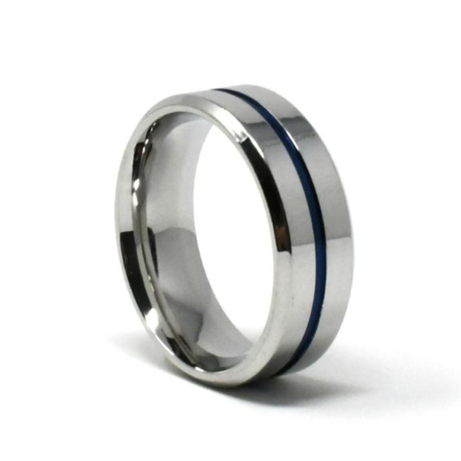 Titanium Silver Blue 8mm Wide Wedding Band